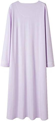 Keyocean Women Nightgown 100% Cotton, Soft Comfy Lightweight Lace Trim Short Sleeve Long Sleepwear Lounge-wear