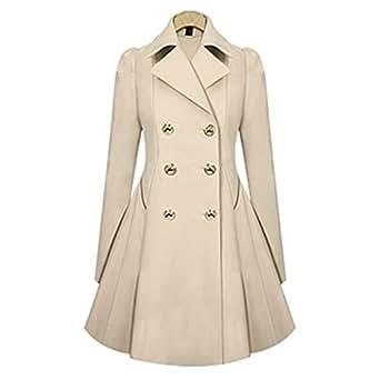 XFentech Women's Windbreaker Coat - Fashion Double Breasted Winter Warm Jacket Slim Fit Outwear,Beige,UK 2XL=Tag 3XL
