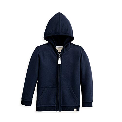 Burt's Bees Baby Baby Sweatshirts, Lightweight Zip-Up Jackets & Hooded Coats, Organic Cotton, Navy French Terry, 4T