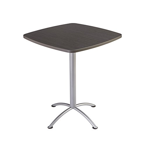 """Iceberg 69754 iLand Meeting/Conferencing Table, Edgeband, 36"""" Square, 42"""" Height, Gray Walnut, Silver Base"""