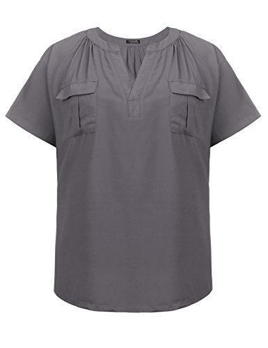 Plus Size Womens T-Shirt Casual Tees Short Sleeve Tops,Grey,24