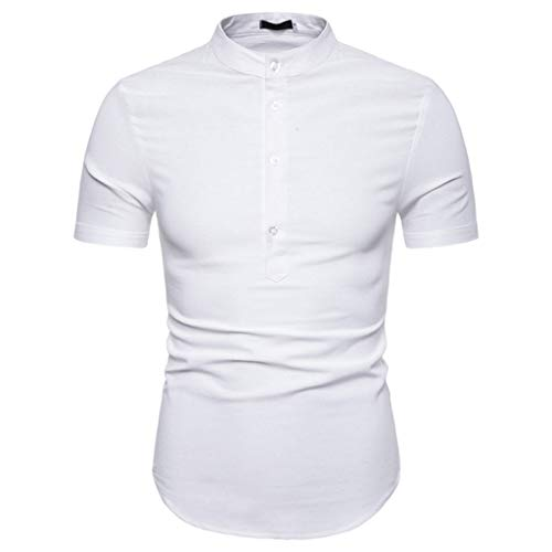 (YKARITIANNA Men Casual Summer Solid Button Short Sleeve Hawaiian T-Shirt Top Blouses White )
