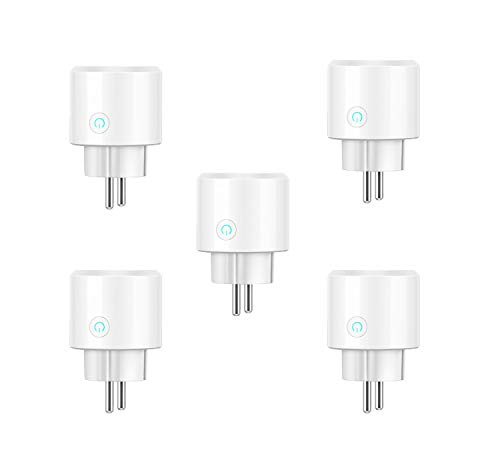 European Dot - Smart Plug,WiFi Mini Remote Control Timer Plug Compatible with Alexa(Echo,Echo Dot), Google Home and IFTTT, 5 Pack European standard plug