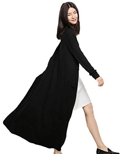Long Cardigans Women's Open Front Cashmere Long Sleeve Sweaters Outwear Coat Pockets (One Size, 5034 Black)