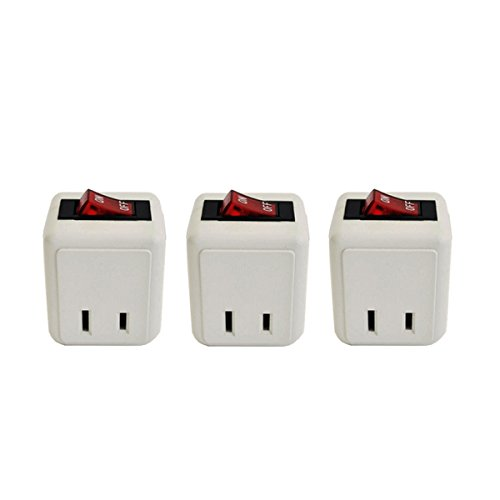 (3 Pack) Uninex Wall Tap Outlet W/Turn ON/OFF Switch Power Adapter 2 prong Plug Without Unplugging Cords ETL ()