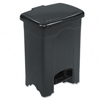 Four Gallon Plastic Step - Safco 9710BL Step-On Receptacle Rectangular Plastic 4gal Black