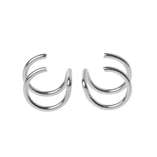 SimpleLif U-Shaped Double Ring Earrings,Titanium Ear Cuff Nose Lip Clips On Helix Cartilage Ring No Piercing Body Jewelry by SimpleLif (Image #1)