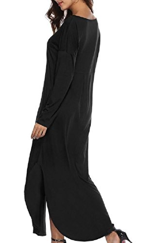 Side Casual Pocket Jaycargogo Sleeve Short Women's Split Beach Dress Maxi V Neck Black XxC0Y