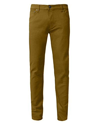 NE PEOPLE Mens Light Solid Basic Casual Slim Fit Twill Skinny Color Jeans Pants-DARKWHEAT-30X30 by NE PEOPLE