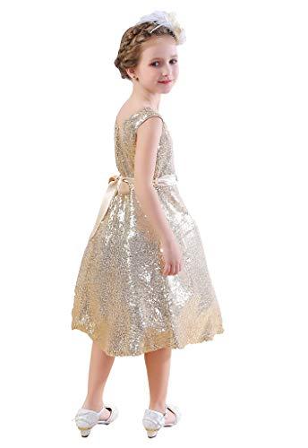 Bow Dream Lovely Lace V-Neck Flower Girl Dress Sequins Gold 10]()