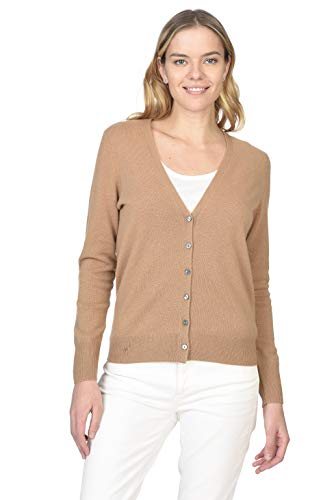 State Cashmere Women's 100% Pure Cashmere Button Front Long Sleeve V Neck Cardigan Sweater ()