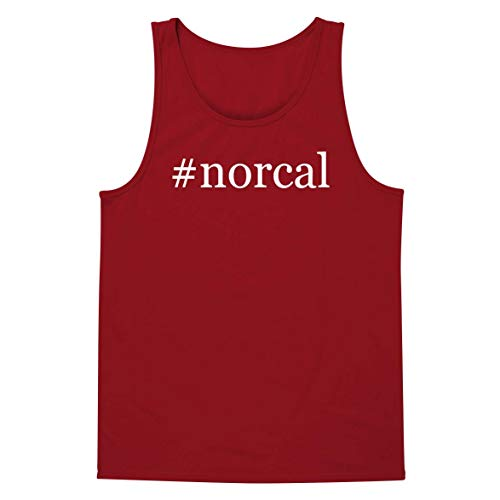 (#Norcal - A Soft & Comfortable Hashtag Men's Tank Top, Red, Small)