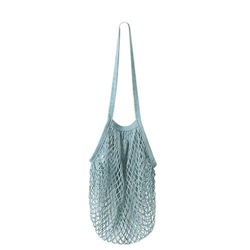 (HJuyYuah Reusable Fruit String Shopper Cotton Mesh Woven Net Shoulder Bag Blue)