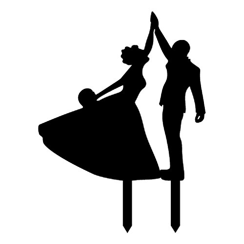 (Wedding Cake Topper Love Funny Dance Couple Bride and Groom Cake Topper Party Decoration Black Anniverary Family)