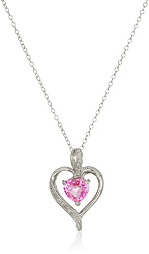 Sterling Silver Created Pink Sapphire and Diamond Heart Pendant Necklace, 18