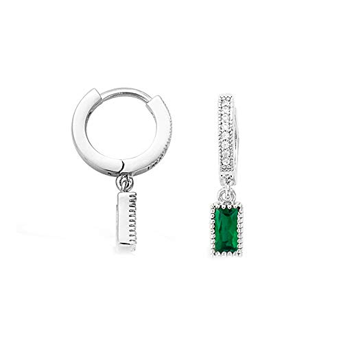 (Agvana White Gold Plated Sterling Silver Small Hoop Earrings Channel Setting Cubic Zirconia CZ Created Emerald Hoop Earrings for Women Girls Diameter)