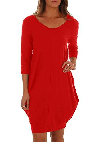 Saikesigirl Womens Casual Midi Dress 3/4 Sleeve Bubble Hem Cotton Autumn Dresses with Pocket Red