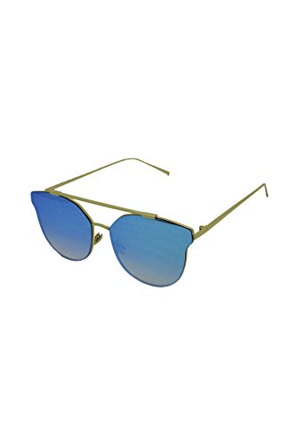 Gold Finecy taille with Mirrored Homme Blue soleil Lens Lunettes Frame In unique de wqq1A4W0