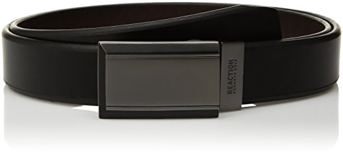 Kenneth Cole REACTION Men's Reversible Plaque Buckle Belt, Black/Brown, - Plaque Belt Buckle Leather
