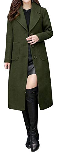 (Suncolor8 Women's Solid Color Slim Lapel Single Breasted Longline Wool Blend Trench Coat Jacket Overcoat 2 L)