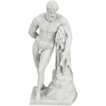 Design Toscano Farnese Hercules Roman God Statue, 10 Inch, Bonded Marble Polyresin, White