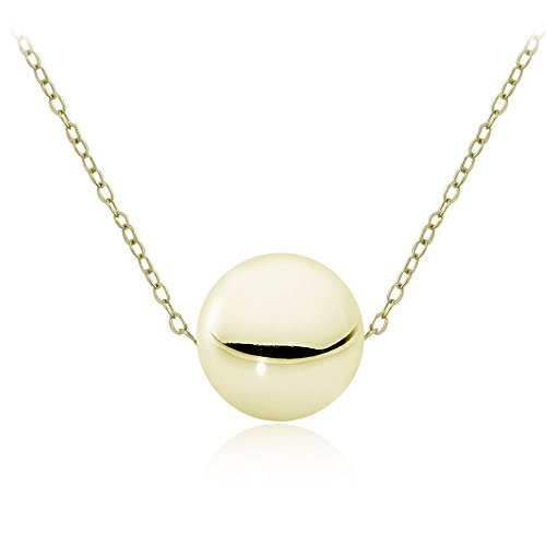 Gold Ball Necklace - Hoops & Loops Flash Plated Gold Sterling Silver 10mm Polished Ball Bead Necklace