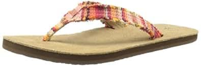Sanuk Women's Fraidy Cat Flip Flop,Coral Poncho,5 M US