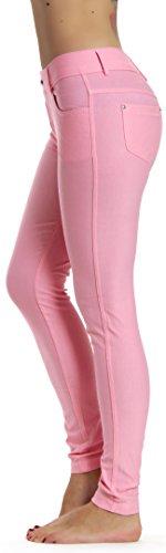 Prolific Health Women's Jean Look Jeggings Tights Yoga Many Colors Spandex Leggings Pants S-XXL (Medium, Light Pink)