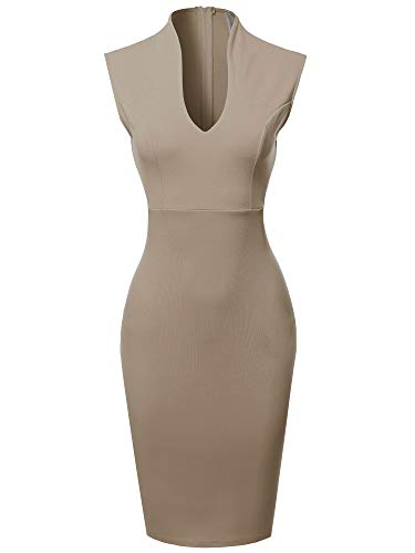 Made by Emma Fitted Elegant Sleeveless Formal Cocktail Party Pencil Midi Dress Light Mocha L