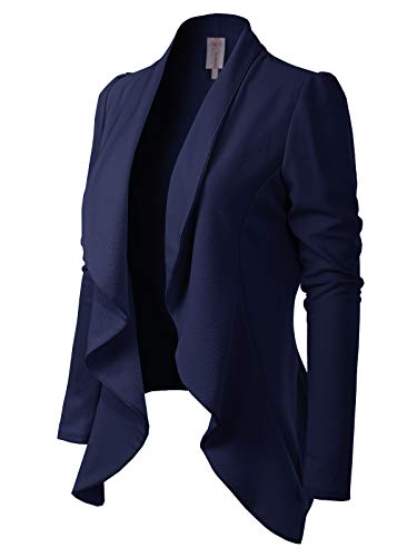 MixMatchy Women's [Made in USA] Solid Formal Style Open Front Long Sleeves Blazer (S-3X) Navy Blue S