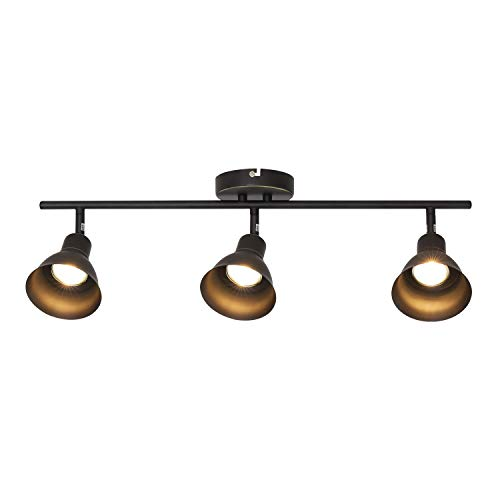 MELUCEE Ceiling Track Lighting with 3-Light Adjustable Track Heads, Oil Rubbed Bronze Spotlights Kitchen Track Lighting Fixtures Ceiling, 35W GU10 Base Halogen Bulbs Included