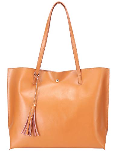 Molodo Genuine Leather Designer Handbags For Women Ladies Large Capacity Madewell Purse Fashion Tote Hobo Bags Clearance Sale (Brown1) ()