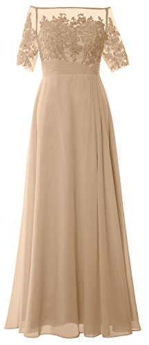 MACloth Women Short Sleeve Formal Gown Off The Shoulder Mother of The Bride Dress (4, Champagne)