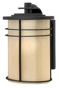 Museum Bronze Outdoor Sconce (Hinkley 1120MR-GU24 Ledgewood - One Light Small Outdoor Wall Mount, Museum Bronze Finish with Champagne/Etched Glass)