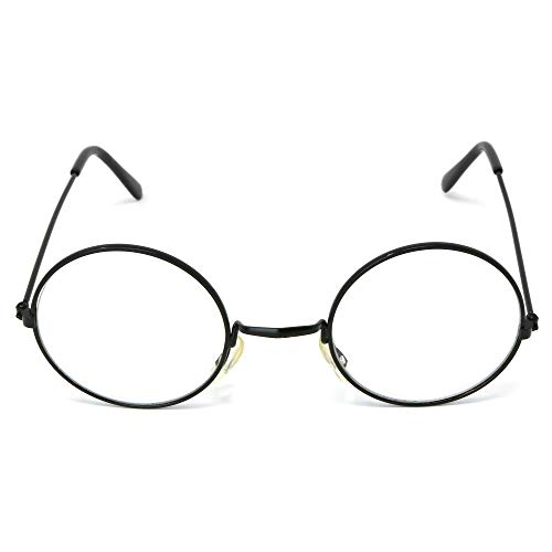 Skeleteen Round Wizard Costume Glasses - Black Metal Frame Circular Costume Eyeglasses - 1 Pair]()