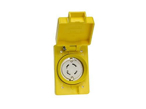 Woodhead 69W76 Watertite Wet Location Locking Blade Receptacle, 3-Phase, Single Flip Lid, Female, 4 Wires, 3 Poles, NEMA L16-30 Configuration, Yellow, 30A Current, 480V Voltage by Woodhead (Image #1)