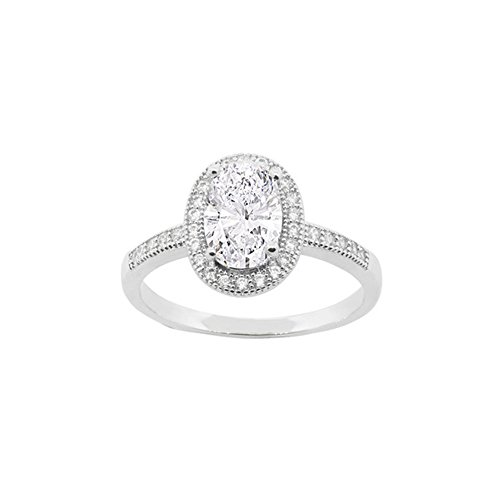Cate and Chloe Blake 18k White Gold Plated Ring, CZ Oval Cut Unique Diamond Crystal Engagement Ring, Womens Beautiful Sparkle Halo Wedding Ring, 2018 Trendy Silver Sparkling Cluster Ring