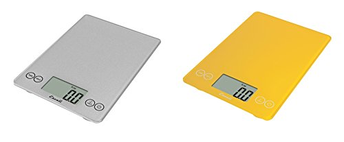 Escali Arti Glass Kitchen Scale, 15 Lb / 7 Kg - Shiny Silver and Solar Yellow, Set of 2 by Escali