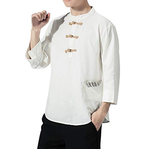 Stoota Men's Summer Casual Vintage Cotton Linen Half Sleeve T Shirt-Top-Blouse White -