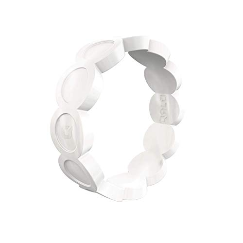QALO Women's Scallop Pearl Silicone Ring Size 08 (Small Scallops)