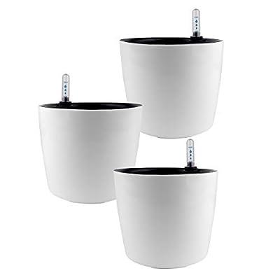 GrowLED 7 inch Self Watering Planter, Indoor Gardening Plant Pot, Window Box, Indoor Home Garden Modern Decorative Pot, Set of 3, White : Garden & Outdoor