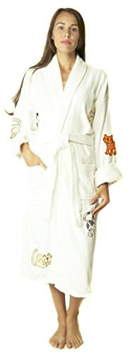 - Aegean Apparel Cat Appliqued Long Bathrobe White