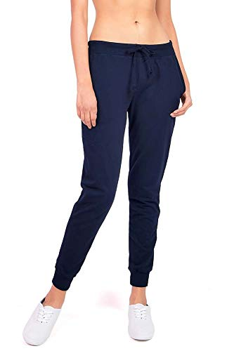 Ambiance Women's Juniors Soft Jogger Pants (Small, Navy Blue)