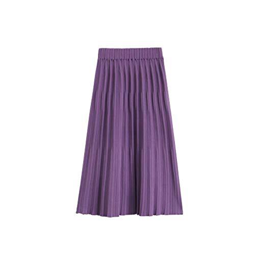 AINIF 2018 Automne - Hiver Women's Wear Mince, Taille Haute, Moyenne en Jupe. Violet