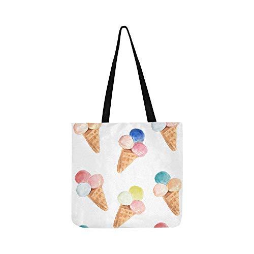 Ice Cream Cone Pattern Hand Drawn Watercolor Illu Canvas Tote Handbag Shoulder Bag Crossbody Bags Purses For Men And Women Shopping Tote