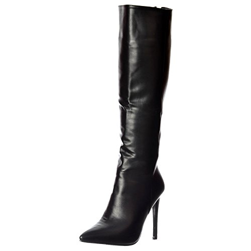 Onlineshoe Women's Stiletto Heel Pointed Toe Knee High Boots UK8 - EU41 - US10 - AU9 (Pointed Toe Knee Boots)