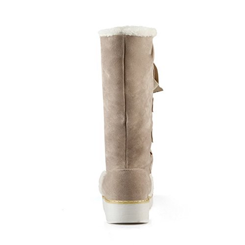 Low Beige Round up Imitated Suede Lace Closed Boots Women's Toe AmoonyFashion Heels Solid xTHaIwI