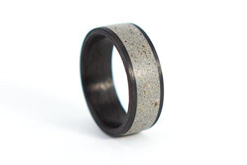 Men's carbon fiber and concrete ring. Industrial grey and black wedding band. Water resistant, very durable and hypoallergenic. (01000_7N) by Rosler