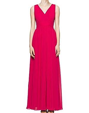 Calvin Klein Women's Empire Waist Pleated Dress Pink 16