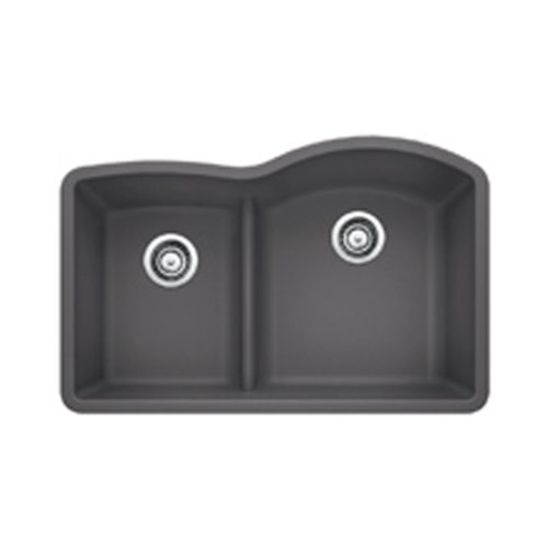Blanco 441600 Diamond 1.75 Low Divide Under Mount Reverse Kitchen Sink, Large, Cinder (Bowl Sink Reverse Undermount)